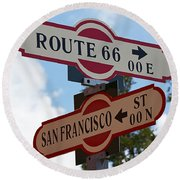 Route 66 Street Sign Round Beach Towel