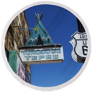 Route 66 Turquoise Tepee Round Beach Towel