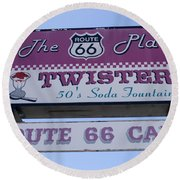Route 66 Twisters Sign Round Beach Towel