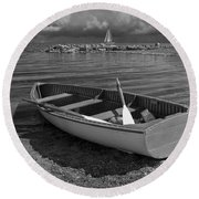 Row Boat On The Shore Of Lake Ontario In Toronto Round Beach Towel