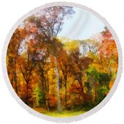 Row Of Autumn Trees Round Beach Towel