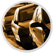 Row Of Cars Round Beach Towel