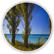 Row Of Cypress Trees At Point Betsie In Michigan No.0924 Round Beach Towel