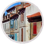Row Of Houses In Arles Provence Round Beach Towel