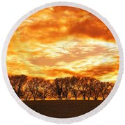 Row Of Trees Round Beach Towel