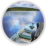 Rowboat Docked On Lake Round Beach Towel