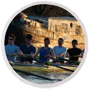 Rowers At Sunset Round Beach Towel