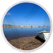 Rowing Boat At Shaldon Round Beach Towel