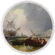 Rowing Boat Going To The Aid Of A Man-o'-war In A Storm Round Beach Towel