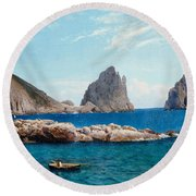 Rowing Off The Rocks Round Beach Towel