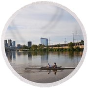 Rowing The Schuylkill Round Beach Towel
