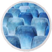 Rows Of Blue Chairs Round Beach Towel by Carlos Caetano
