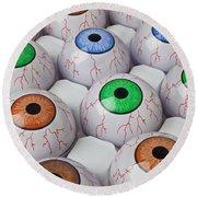 Rows Of Eyeballs Round Beach Towel