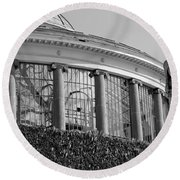 Royal Conservatory In Brussels - Black And White Round Beach Towel