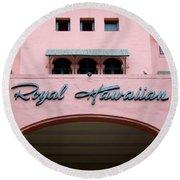 Royal Hawaiian Hotel Entrance Arch Round Beach Towel