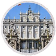 Royal Palace In Madrid Round Beach Towel