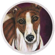 Royalty - Greyhound Painting Round Beach Towel by Michelle Wrighton