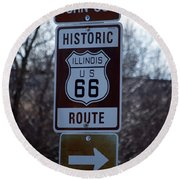 Rt 66 Il Turn Out Signage Round Beach Towel