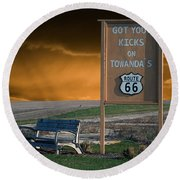 Rt 66 Towanda Signage Round Beach Towel