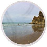 Ruby Beach Seastack Reflection Round Beach Towel