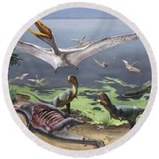 Rugops Primus Dinosaurs And Alanqa Round Beach Towel
