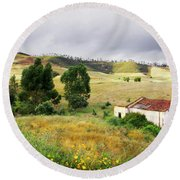Ruin In Countryside Round Beach Towel