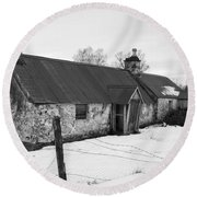 Ruined Cottage In Snow Round Beach Towel