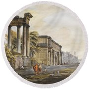 Ruins Round Beach Towel