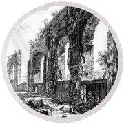 Ruins Of Roman Aqueduct, 18th Century Round Beach Towel