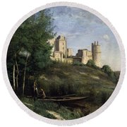 Ruins Of The Chateau De Pierrefonds Round Beach Towel