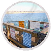 Rules Of The Pier  Round Beach Towel