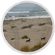 Run My Dogs Round Beach Towel