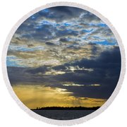 Running Out At Sunset Round Beach Towel