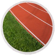 Running Track Round Beach Towel