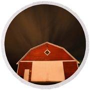 Rural Barn Night Photograhy Round Beach Towel