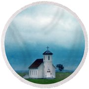 Rural Church With Stormy Sky Round Beach Towel