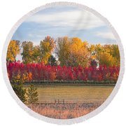 Rural Country Autumn Scenic View Round Beach Towel