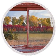 Rural Country Autumn Scenic Window View Round Beach Towel
