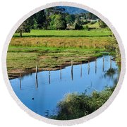 Rural Landscape After Rain Round Beach Towel