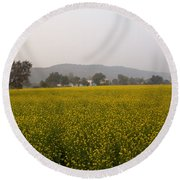 Rural Landscape With A Field Of Mustard Round Beach Towel
