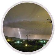 Rural Lightning Striking Round Beach Towel