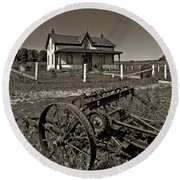 Rural Ontario Sepia Round Beach Towel