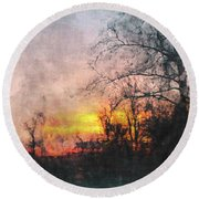 Rural Sunset  Art Round Beach Towel