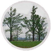 Rural Trees Iv Round Beach Towel