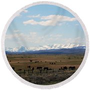 Rural Wyoming - On The Way To Jackson Hole Round Beach Towel
