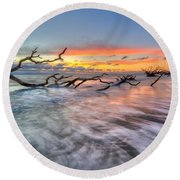 Rush Round Beach Towel by Debra and Dave Vanderlaan
