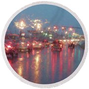 Rush Hour In The Rain Round Beach Towel