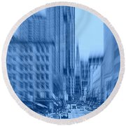 Rush Hour In Vancouver Round Beach Towel