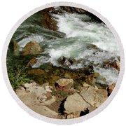 Rushing Water Glen Alpine Creek  Round Beach Towel