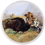 Russell: Buffalo Hunt Round Beach Towel